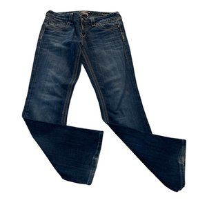 ReRock For Express Mid Rise Barely Boot Cut Jeans Size 8R Blue Stretch Denim